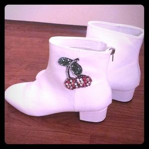 Betsy Johnson Cherry 🍒 Emblemed White Booties